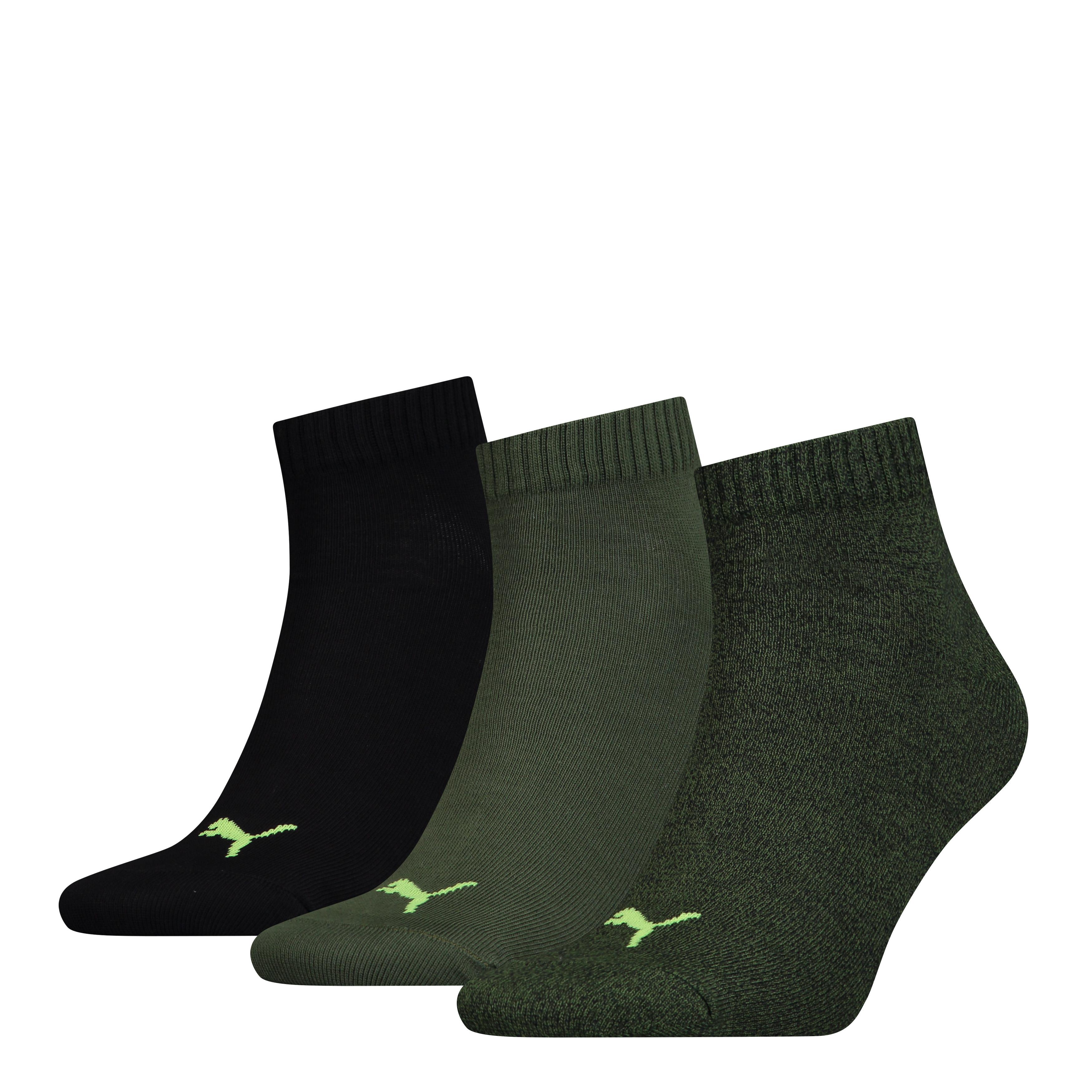 Puma sokken quarter plain Black /Green 3-pack-39/42
