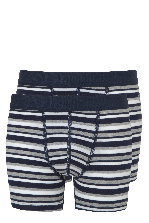 Ten Cate 2-Pack Boys Basic Short Donker Blauw Gestreept-146/158