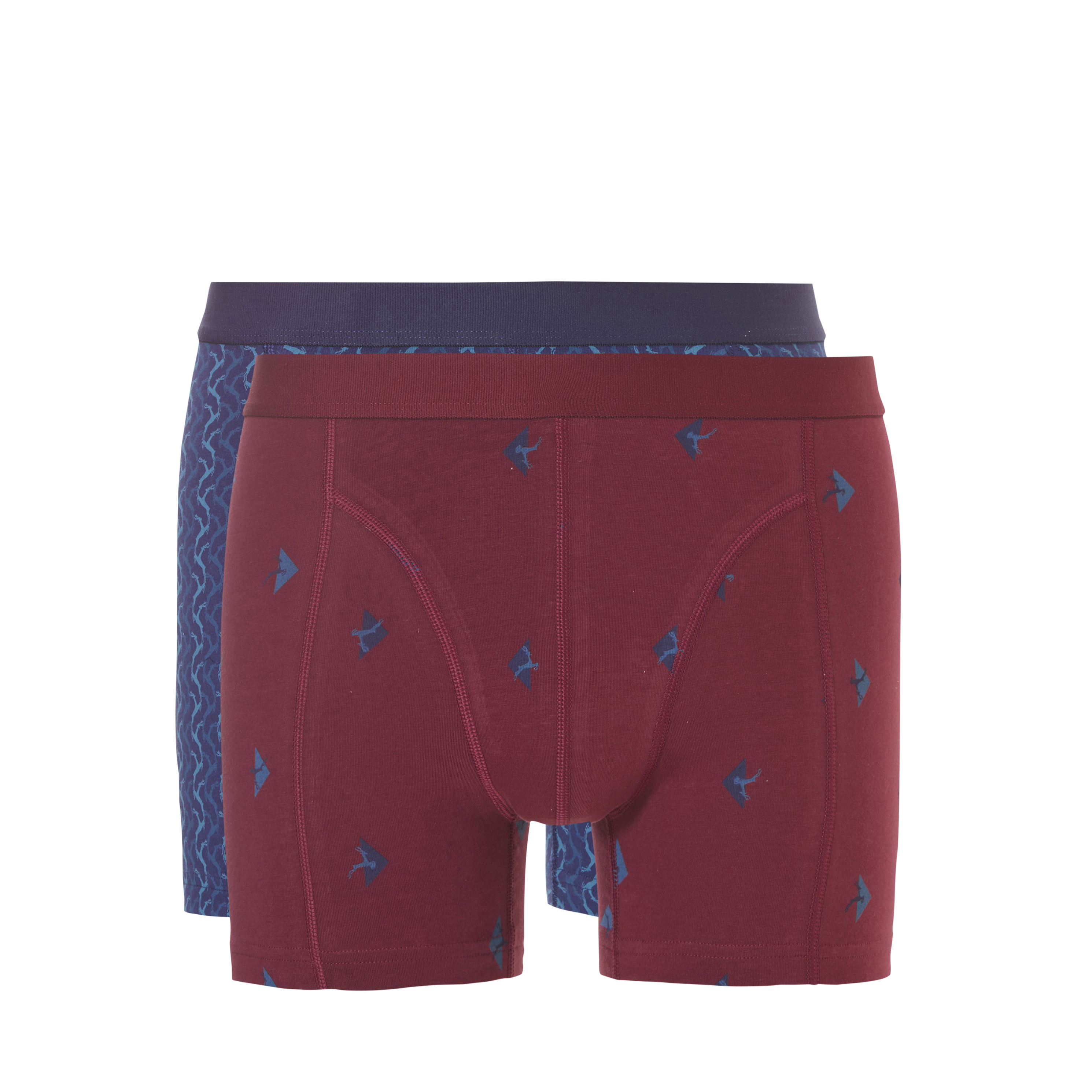 Ten Cate men fine shorts 2-Pack burgundy deer + navy deer