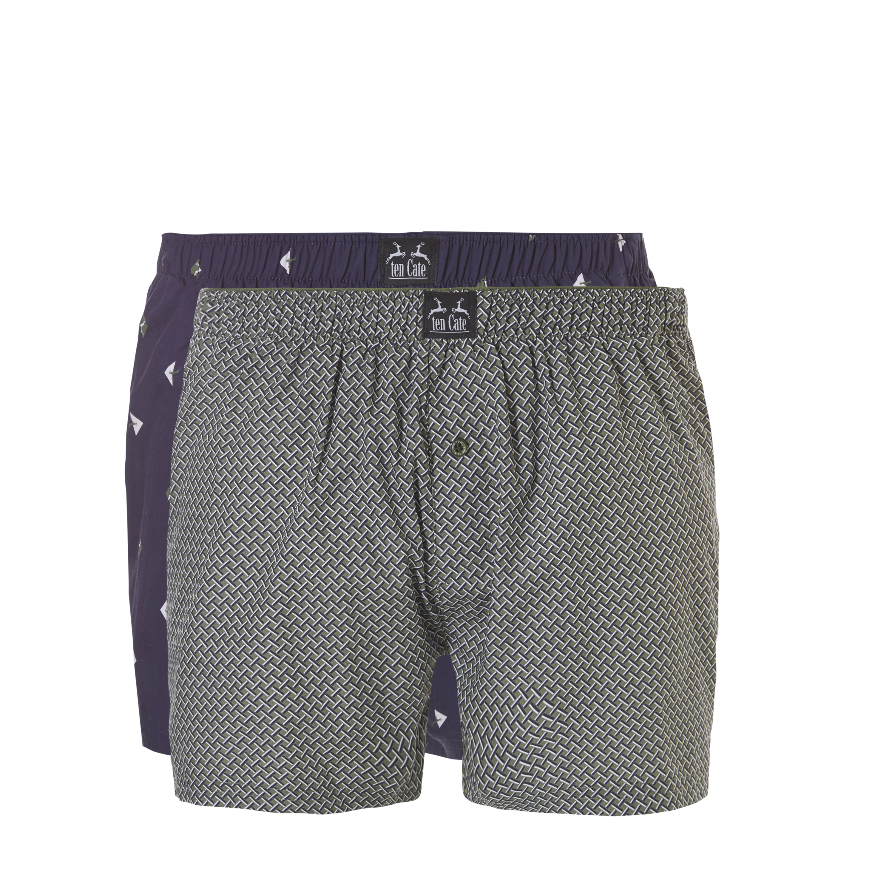 Ten Cate Woven Boxershorts 2-Pack Navy Triangle/Green Weave
