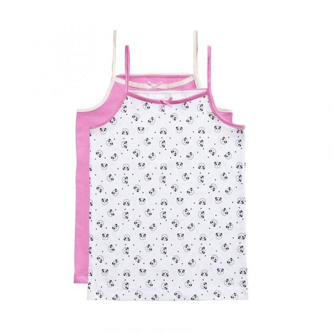 Ten Cate Kids Girls Spaghetti Shirt Roze/Wit 2-Pack