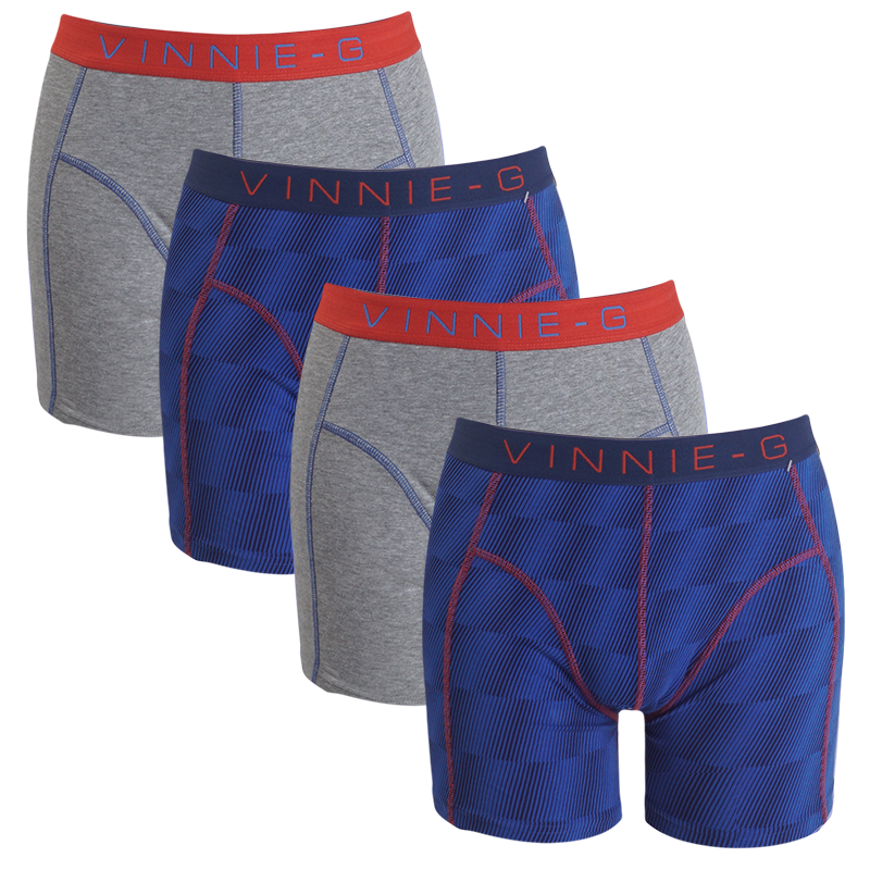 Vinnie-G boxershorts Flame Blue Print Grey 4-pack XXL
