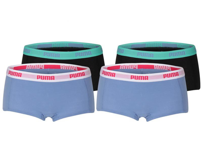 Puma damesshorts 4-pack blauw-zwart