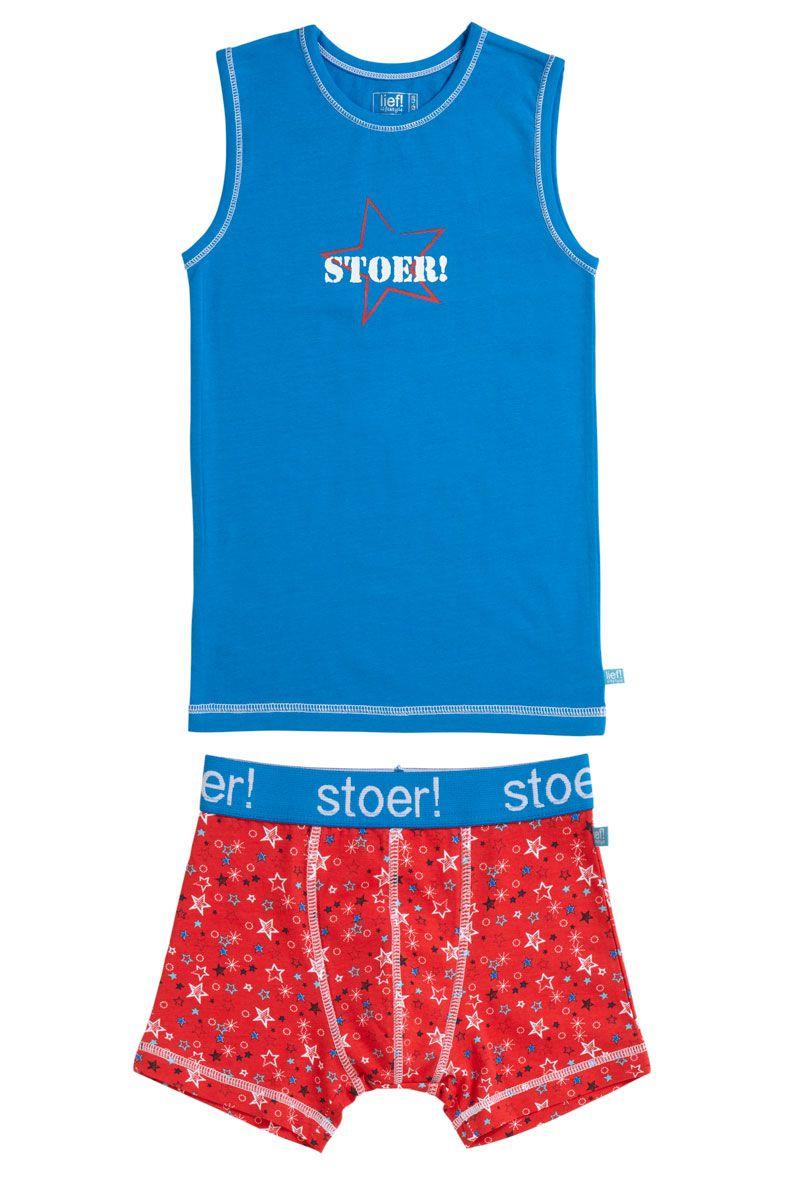Stoer! jongens shirt & short (Blauw - Rood Ster)