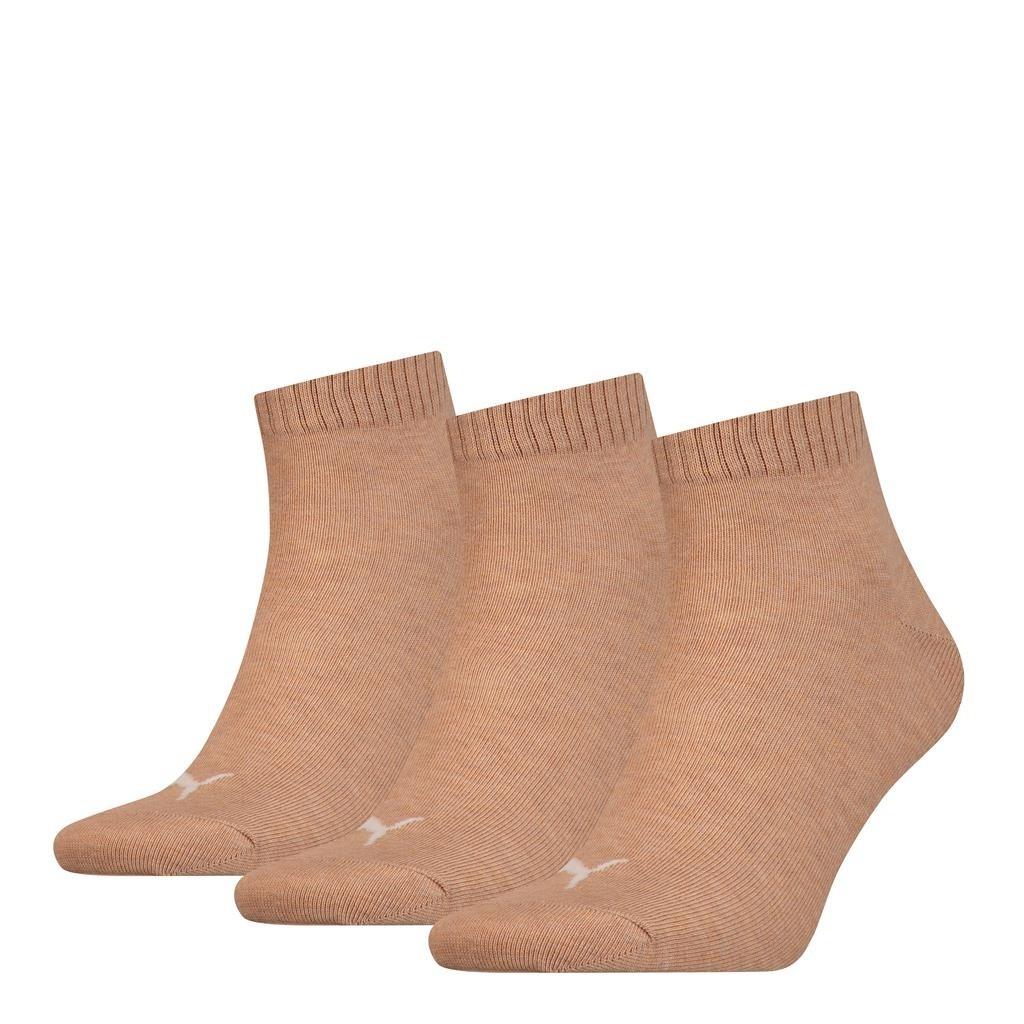 Puma Unisex Quarter Plain Socks Beige Melange-39-42
