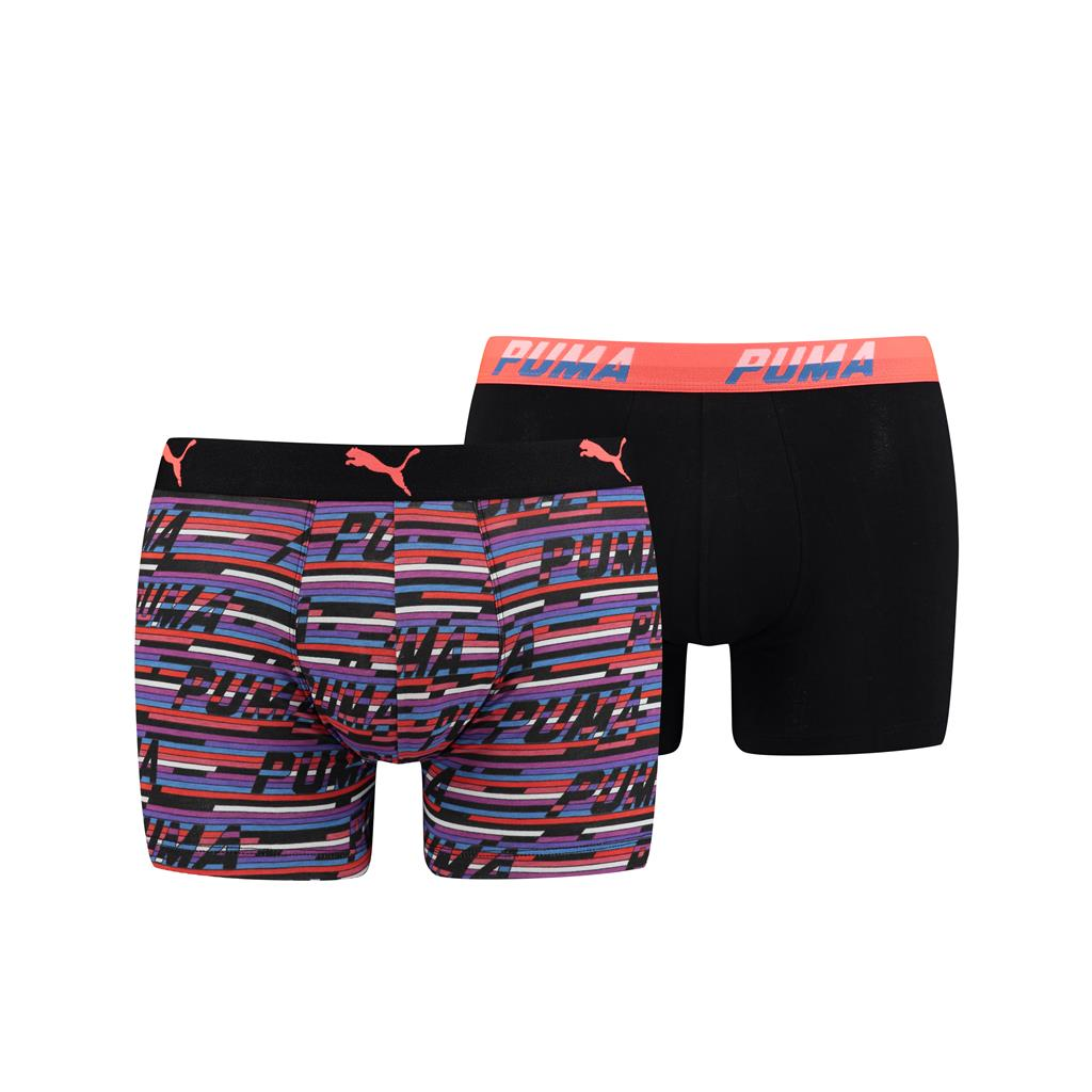 Puma Logo AOP Boxershorts Blue/Orange 2-pack-XL