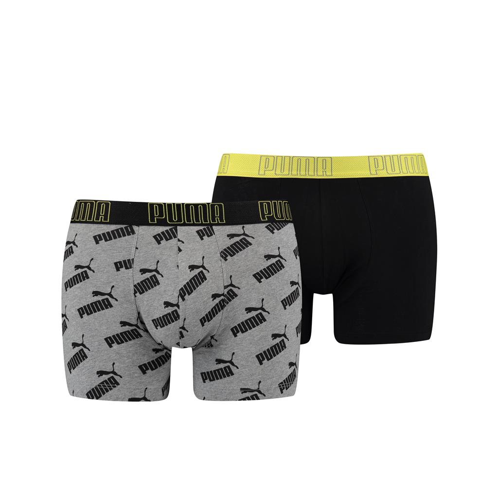 Puma Big Logo AOP Boxershorts Yellow/Grey melange 2-pack-S