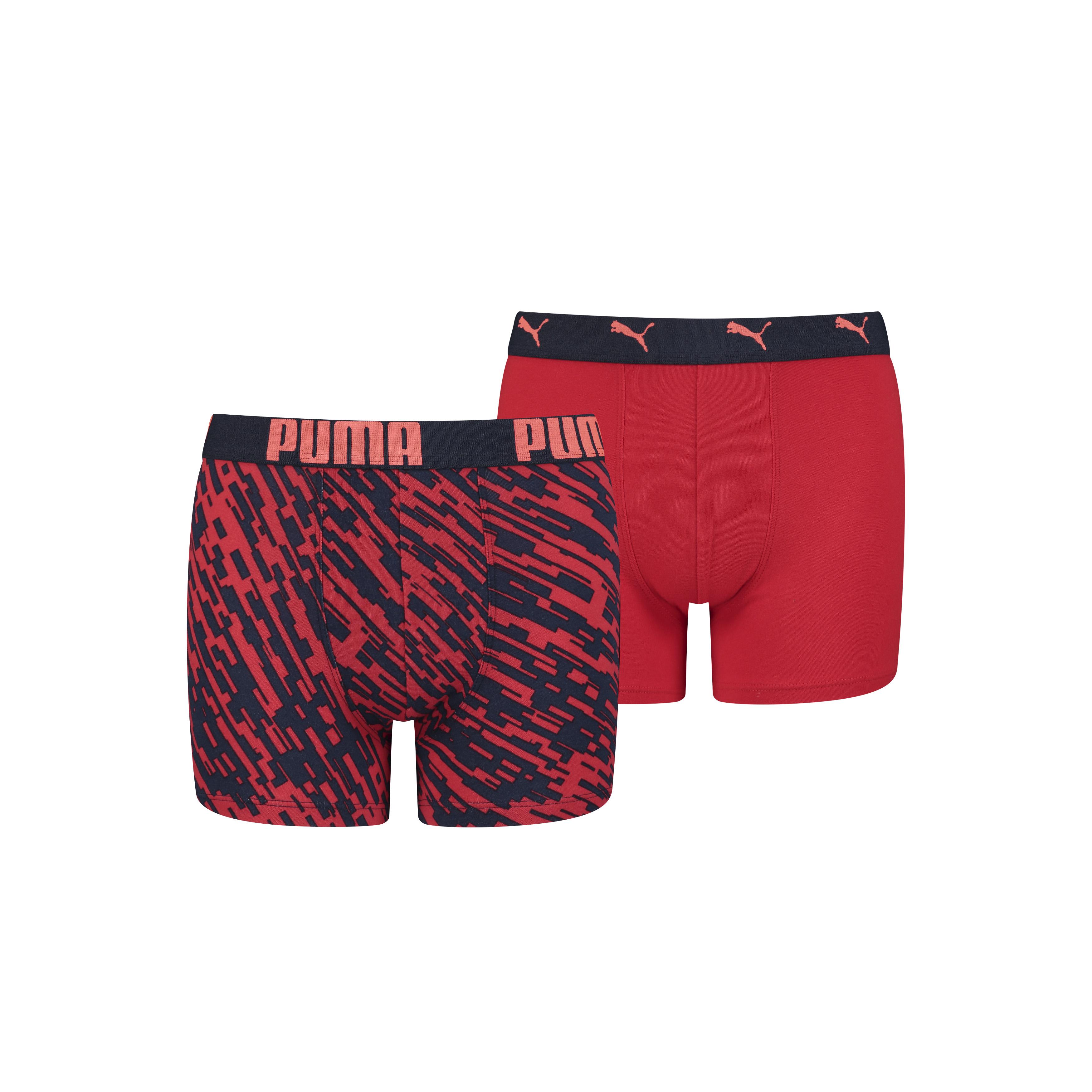 Puma Boys Print Boxershorts Navy/Red 2-pack-134-140