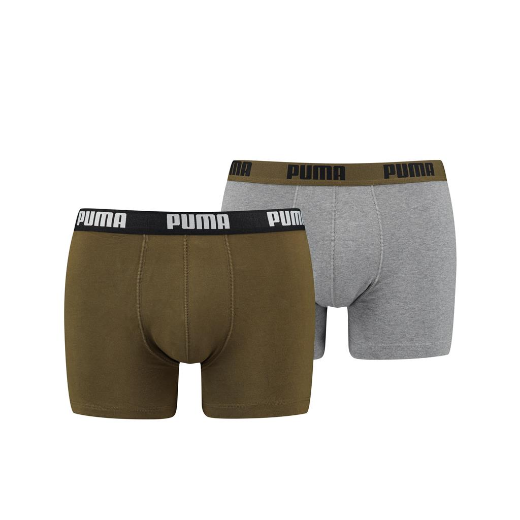 Puma Basic Boxershorts Grey/Green 2-pack-L