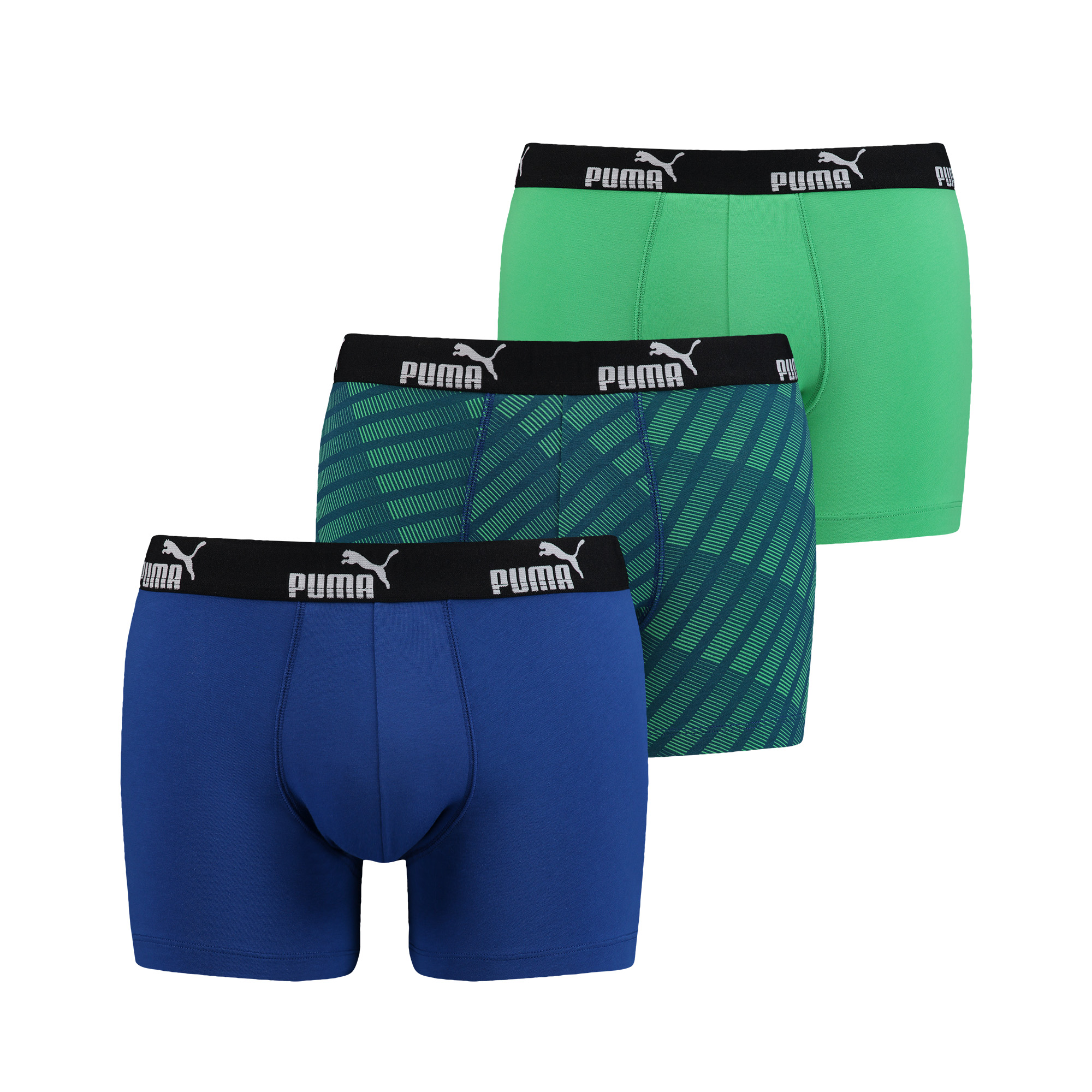 Puma Diagonal Print Boxers Blue/Green 3-pack