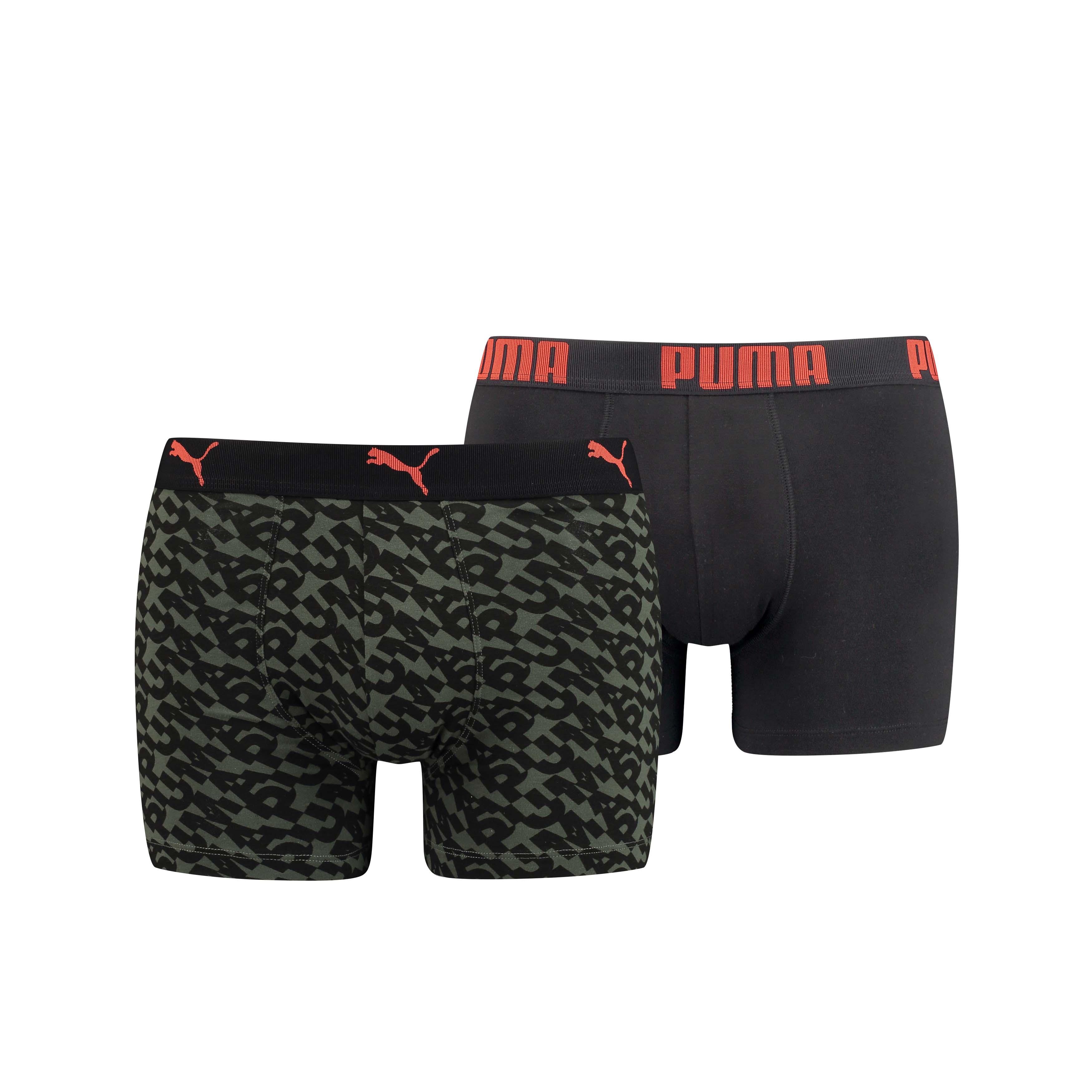 Puma Boxershorts Logo AOP Army Green 2-pack-L