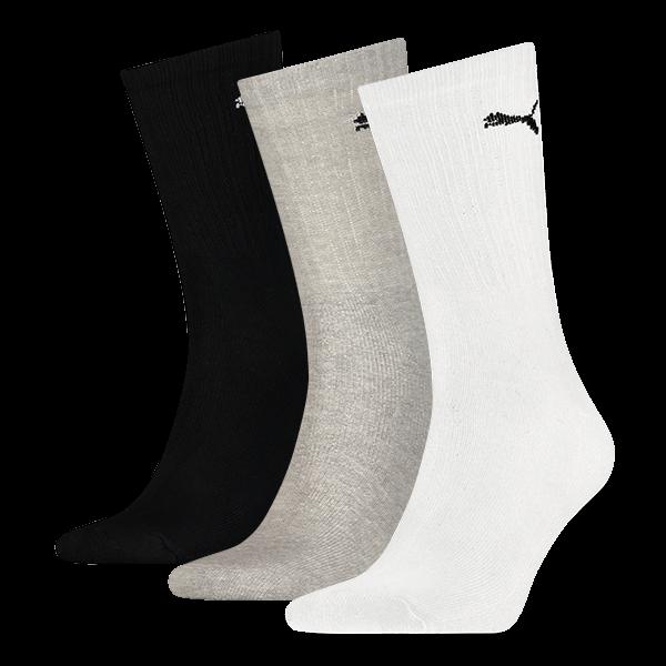 Puma sokken hoog wit-zwart-grijs 3-pack-39-42