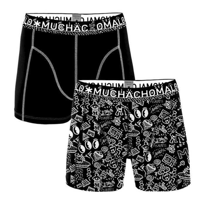 Muchachomalo Men Boxershorts 2- Pack Iconic Art Print/Black + Gratis Iconic Art Sokken