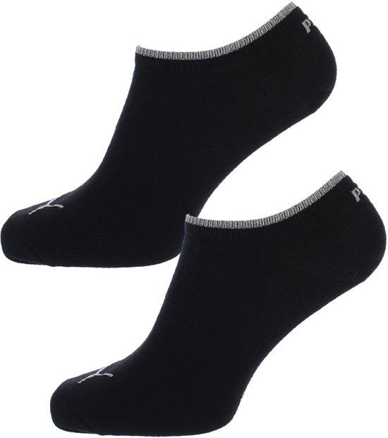 Puma - Dames Sneaker Sokken Zwart - Zilver 2-pack-39-42