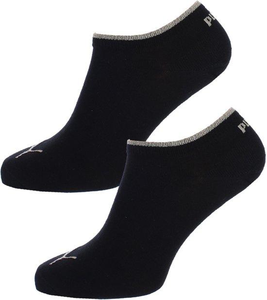 Puma - Dames Sneaker Sokken Zwart - Goud 2-pack-39-42