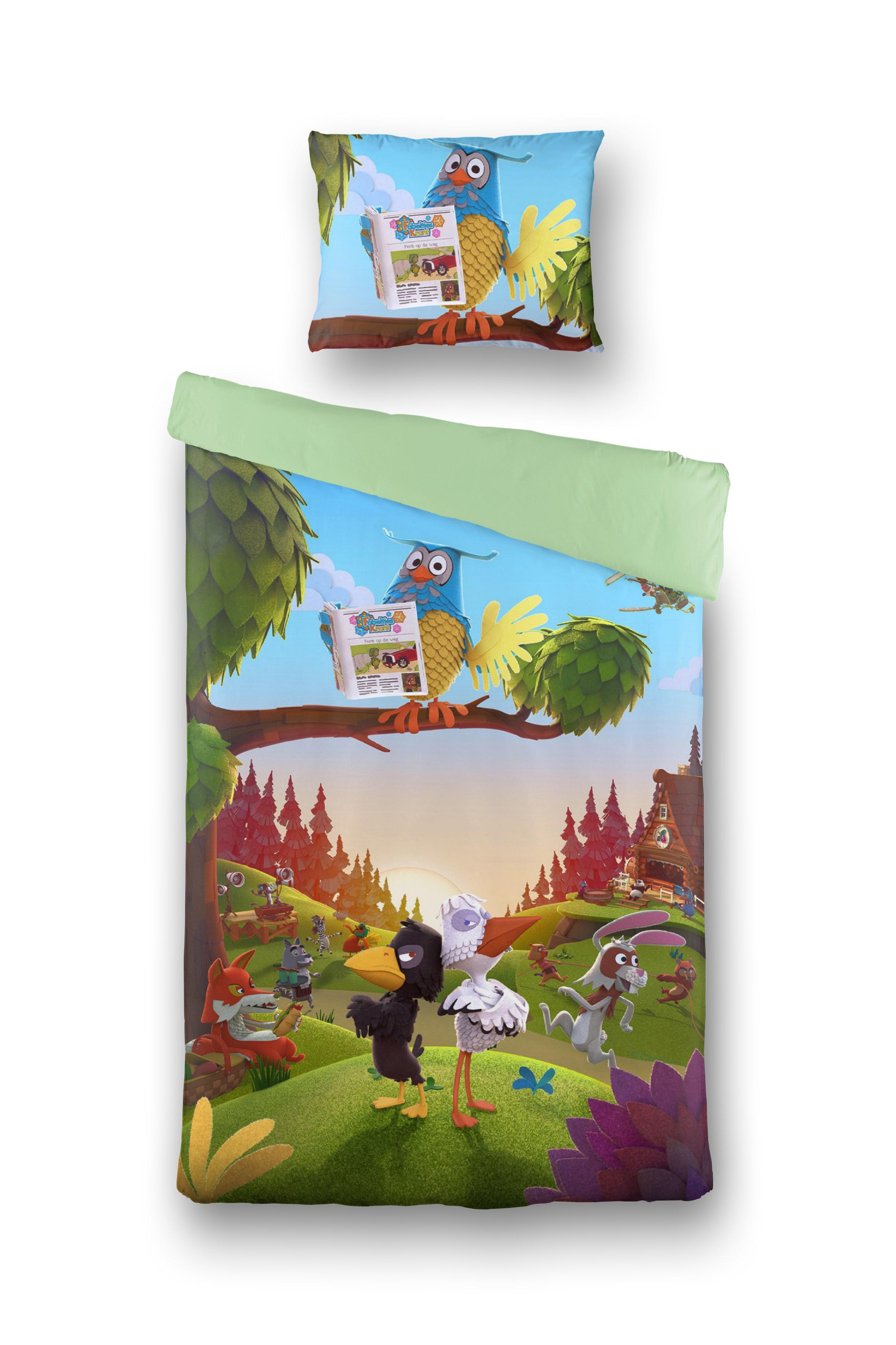 FABELTJESKRANT Dekbed Overtrek Dierenbos Multicolor, 140x200 + 60x70