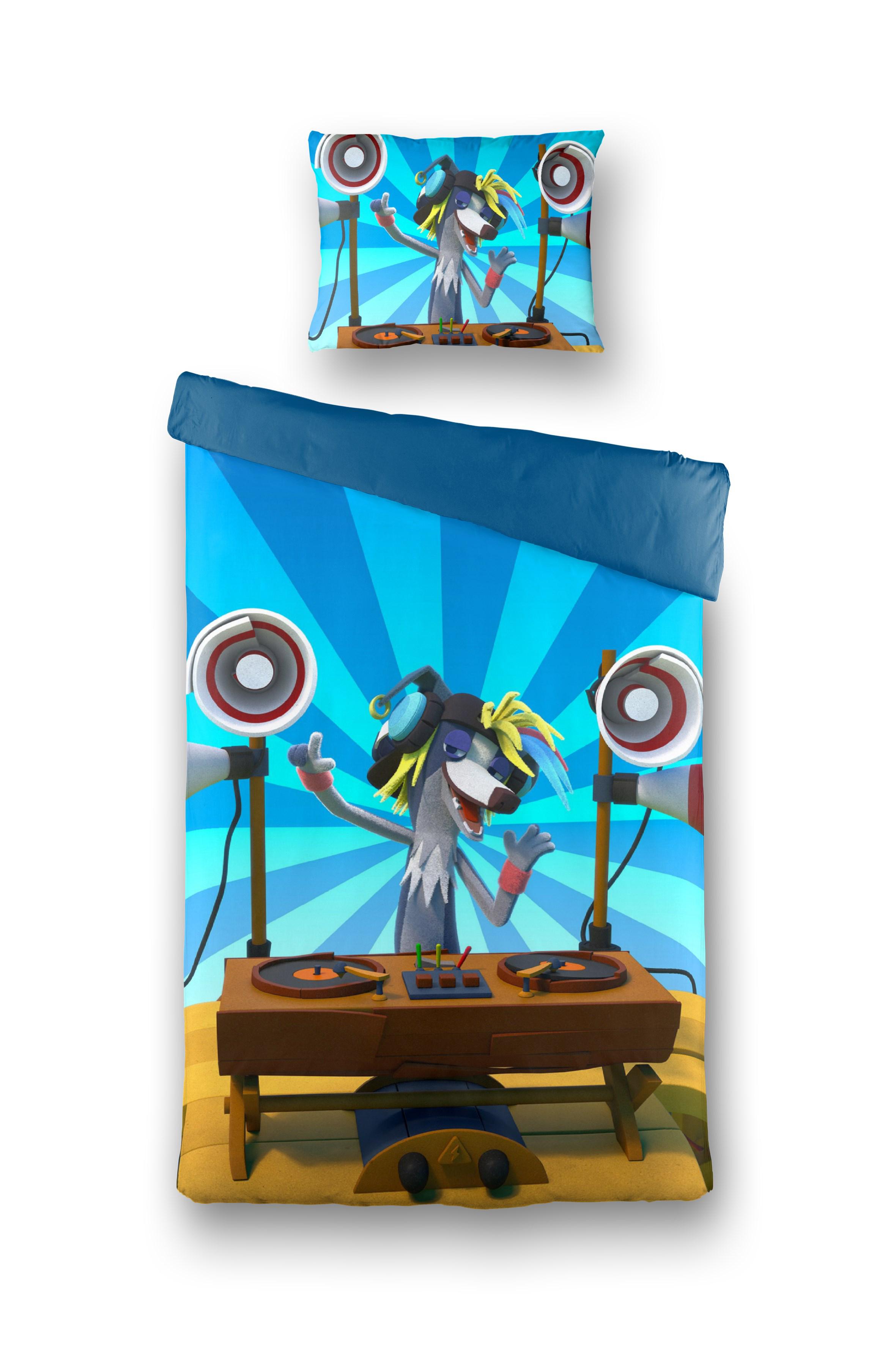 FABELTJESKRANT Dekbed Overtrek DJ Wally Windhond Blauw, 140x200 + 60x70