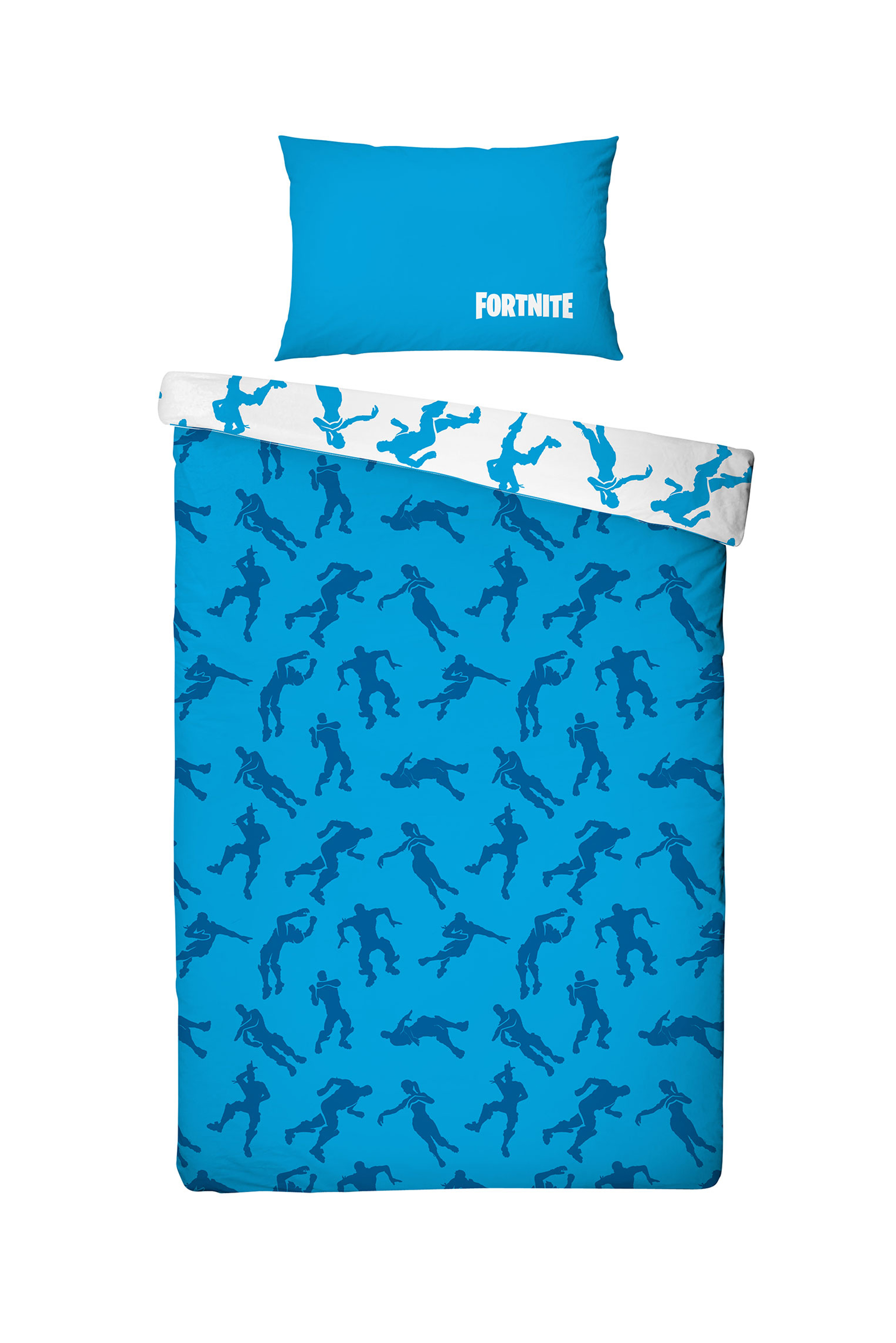 FORTNITE Dekbed Overtrek Emotes Blauw - Wit, 140x200