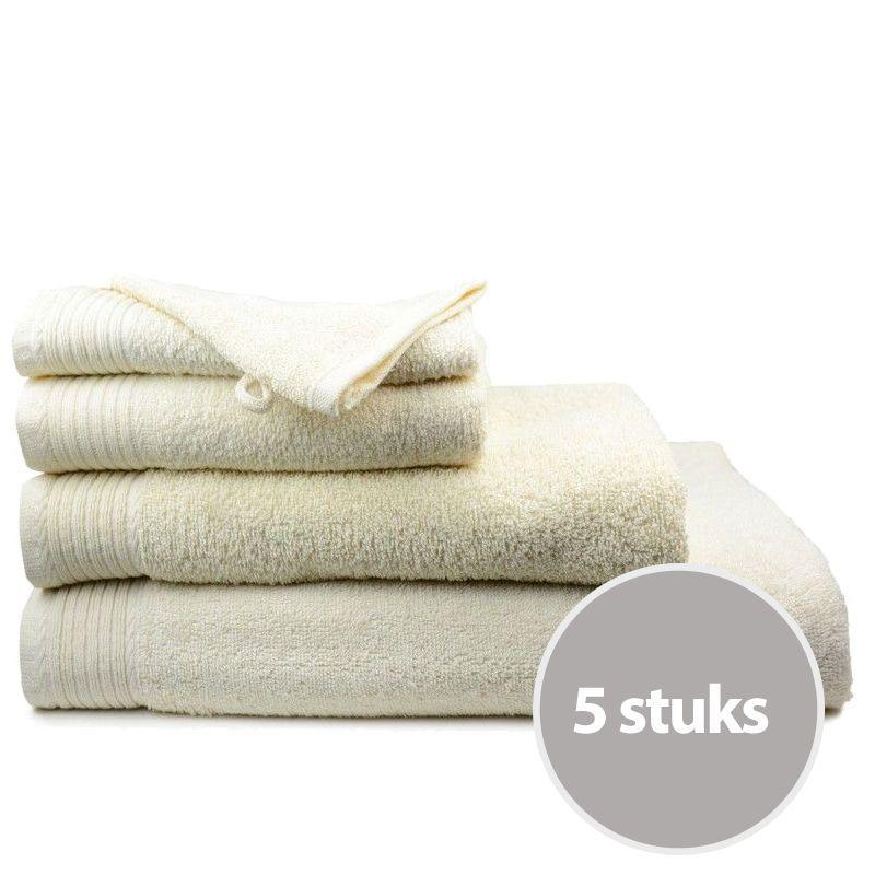 The One Badhanddoek Voordeelpakket 450 gram 70x140 cm Creme (5 stuks)