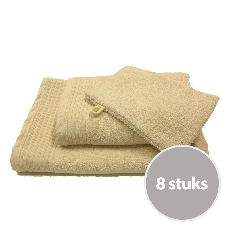 Budgetpakket badtextiel 450 gram Creme - 8 stuks