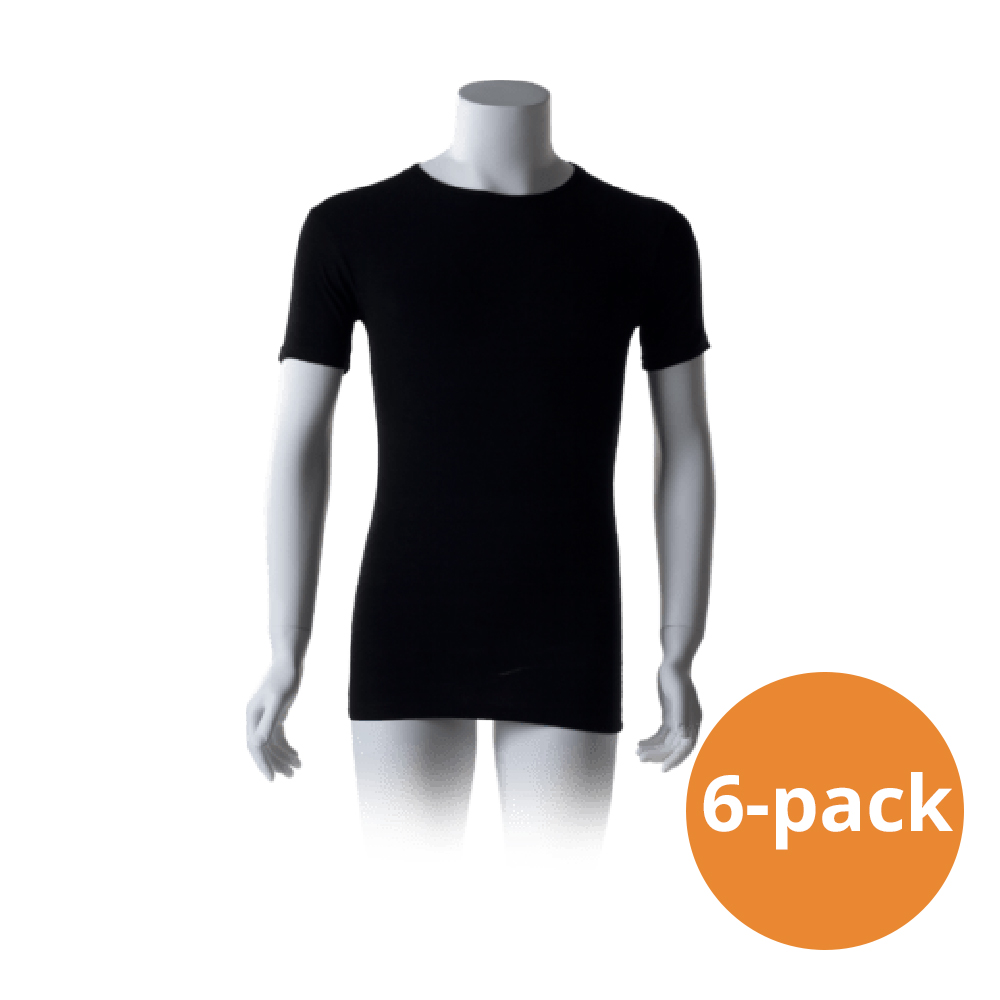 Cavello Basic T-Shirts Zwart Ronde Hals 6-pack-S
