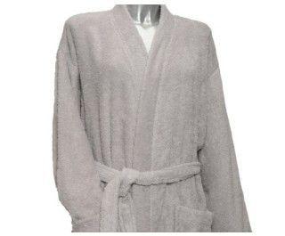 Clarysse Kimono Badstof Badjas Pearl Lichtgrijs-L/XL