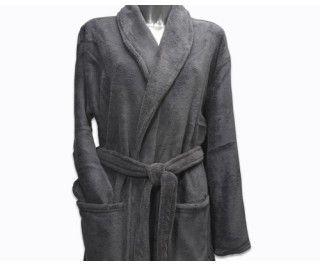 Clarysse Fleece badjas met sjaalkraag Donkergrijs