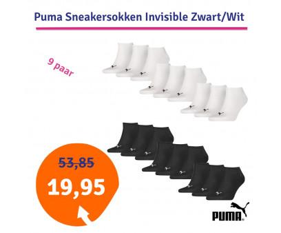 Dagaanbieding Puma Sneakersokken Invisible Zwart of Wit - 9 paar