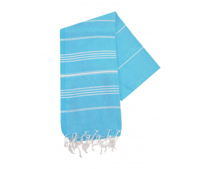 The One Towelling Hamamdoek Turquoise/Wit