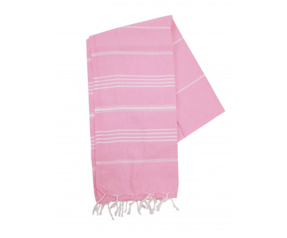 The One Towelling Hamamdoek Pink/Wit
