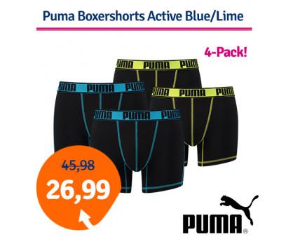 Dagaanbieding Puma Boxershorts Active Blue/Lime 4-Pack
