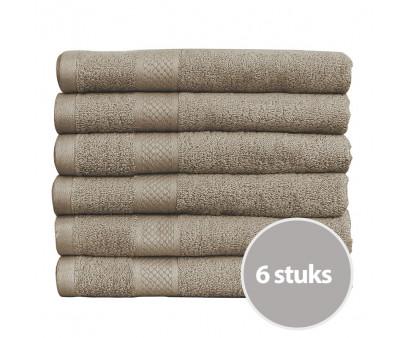 Seashell Handdoek 50 x 100 cm 500 gram Taupe - 6 stuks