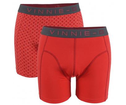 Vinnie-G boxershorts Flamingo Rood/Print 2-pack