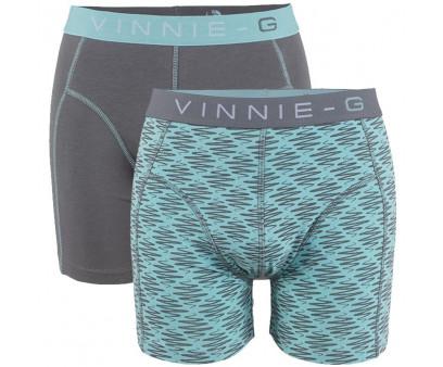 Vinnie-G boxershorts Mint Print - Grey 2-Pack