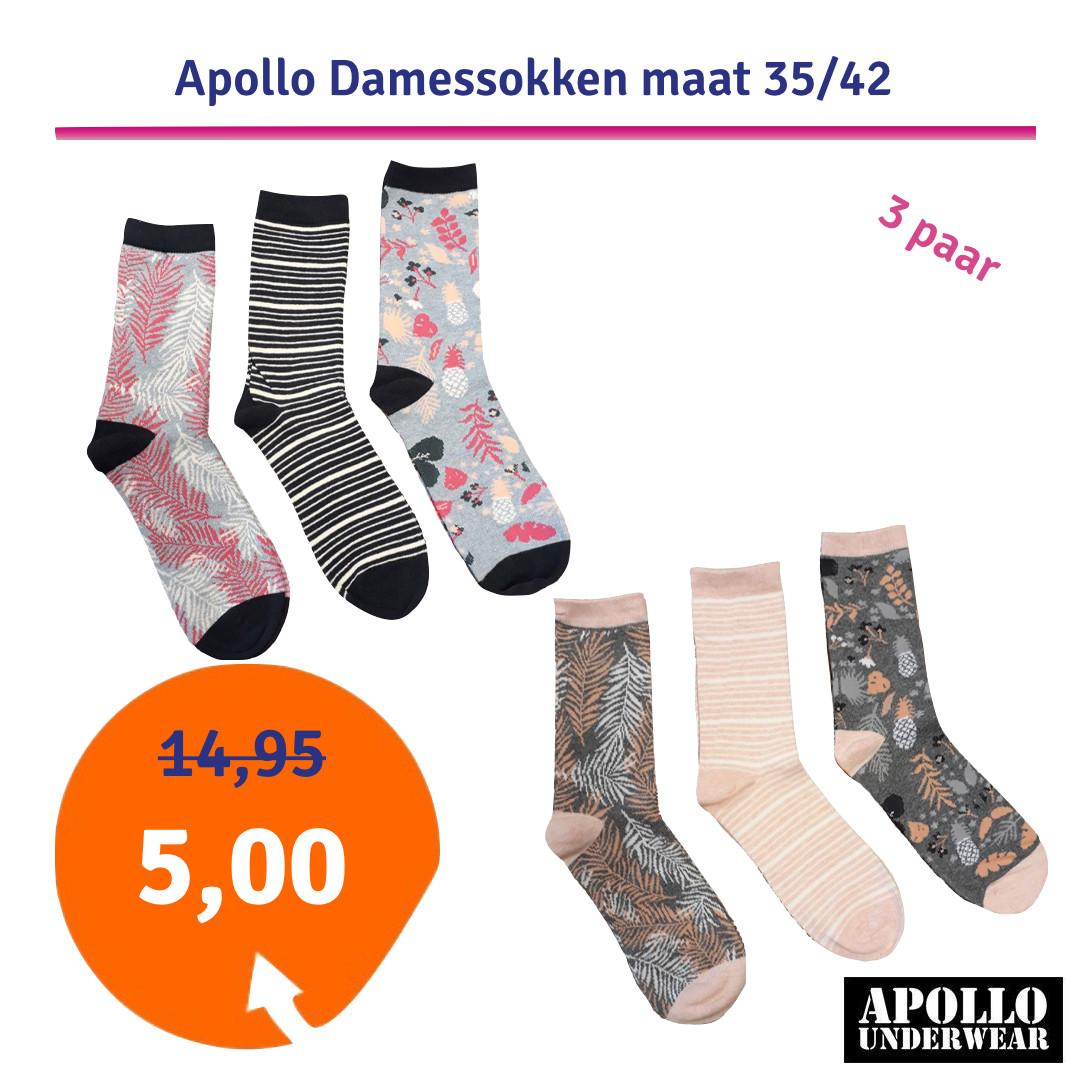 Dagaanbieding - Dagaanbieding Apollo Damessokken 3-pack dagelijkse aanbiedingen
