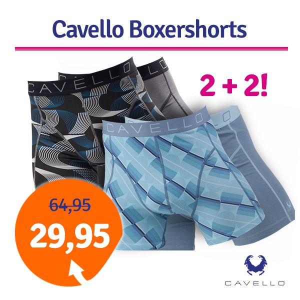 Dagaanbieding - Dagaanbieding Cavello boxershorts Elips and Waves 4-pack dagelijkse aanbiedingen