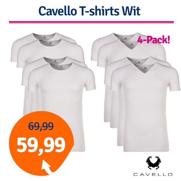 Dagaanbieding Cavello T-shirts Wit 4-pack