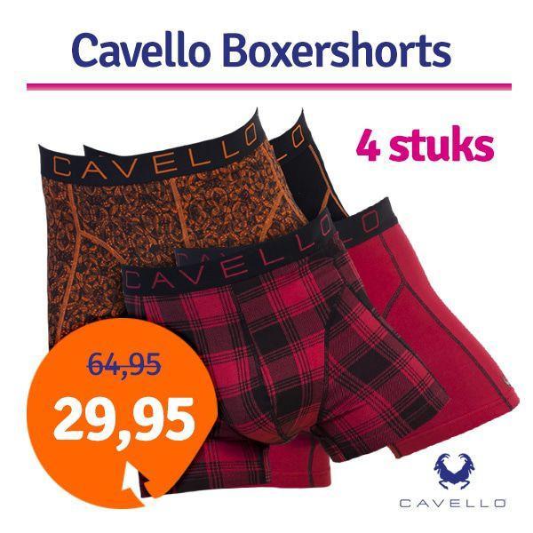 Dagaanbieding - Dagaanbieding Cavello boxershorts Rood Oranje 4-pack dagelijkse aanbiedingen