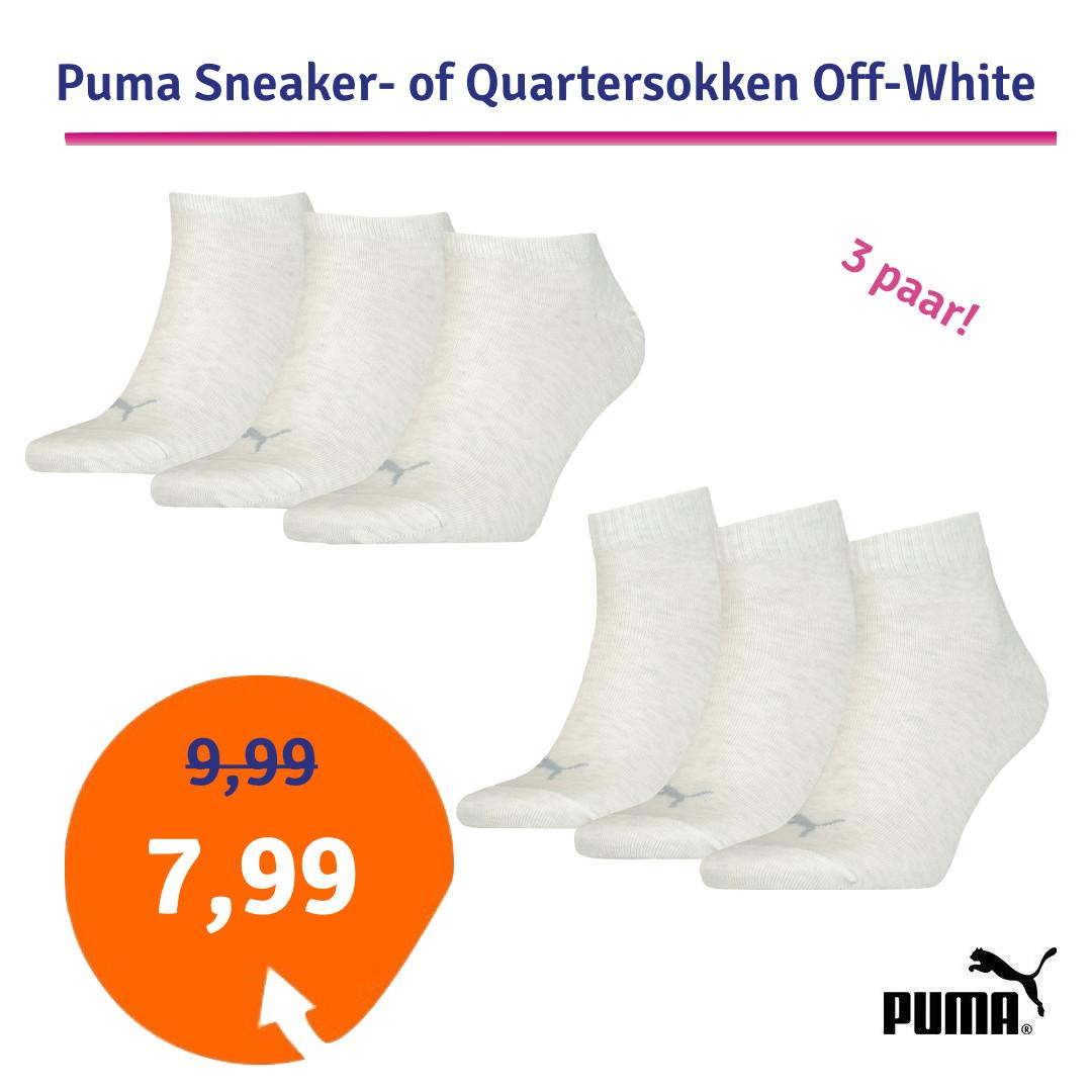 Dagaanbieding - Dagaanbieding Puma Sneaker- of Quartersokken Off-White 3 paar dagelijkse aanbiedingen