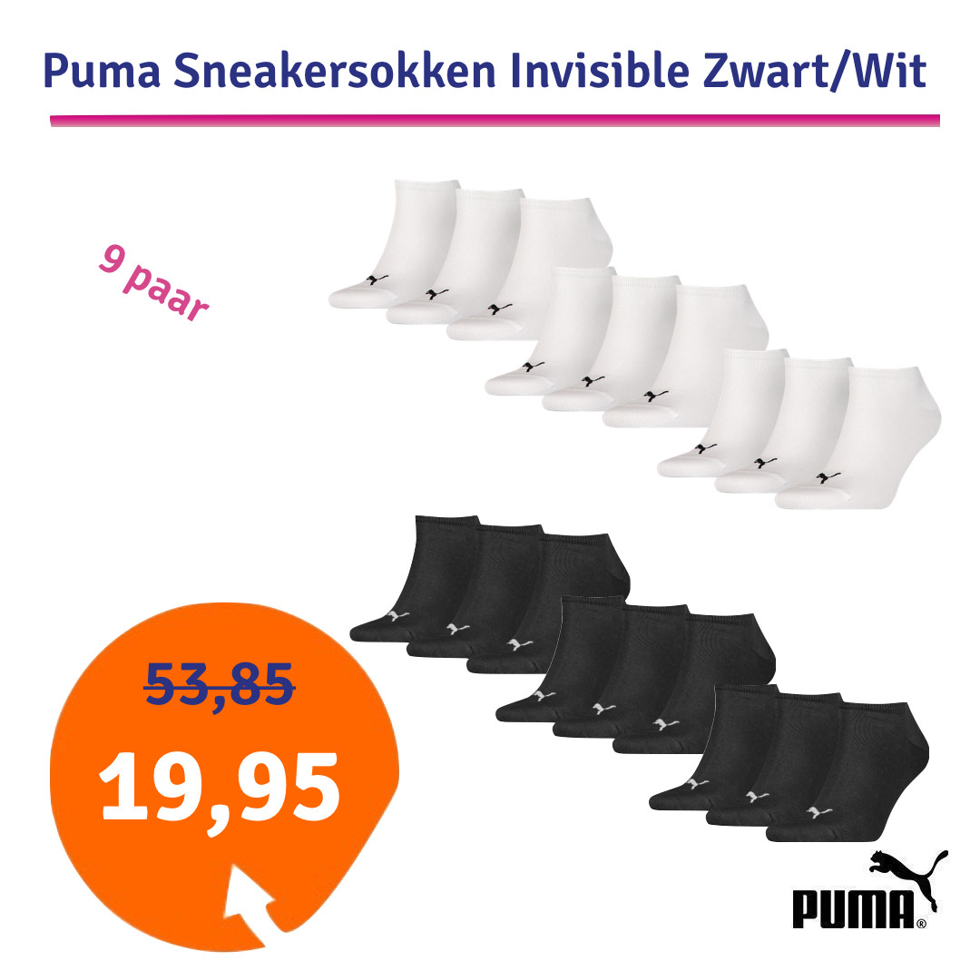Dagaanbieding Puma Sneakersokken Invisible Zwart of Wit 9 paar