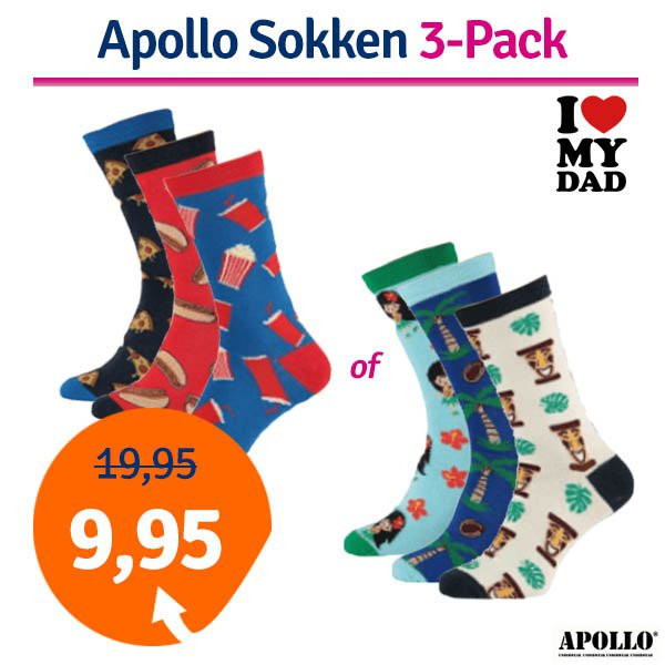 Dagaanbieding - Dagaanbieding Apollo Computer heren sokken 3-Pack dagelijkse aanbiedingen