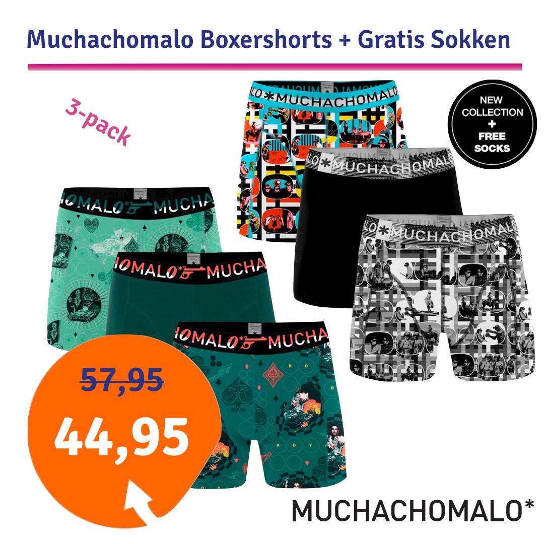 Dagaanbieding - Dagaanbieding Muchachomalo Boxershorts 3-pack + Gratis Sokken dagelijkse aanbiedingen