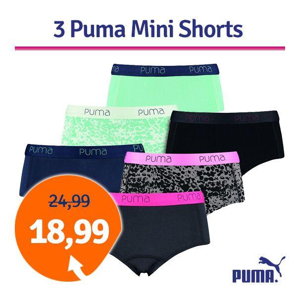 Dagaanbieding - Dagaanbieding Puma damesshorts 3-pack dagelijkse aanbiedingen