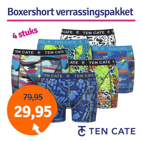 Dagaanbieding - Dagaanbieding Ten Cate boxershorts Print verrassingspakket 4-pack dagelijkse koopjes