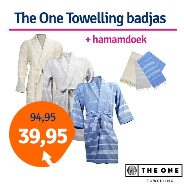 Dagaanbieding The One Towelling Hamam badjas + Hamamdoek