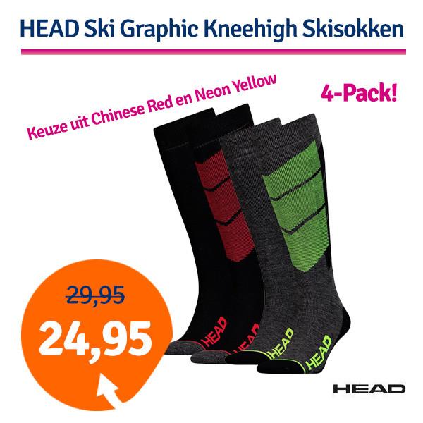 Dagaanbieding - Dagaanbieding HEAD Ski Graphic Kneehigh 4 paar Skisokken dagelijkse aanbiedingen