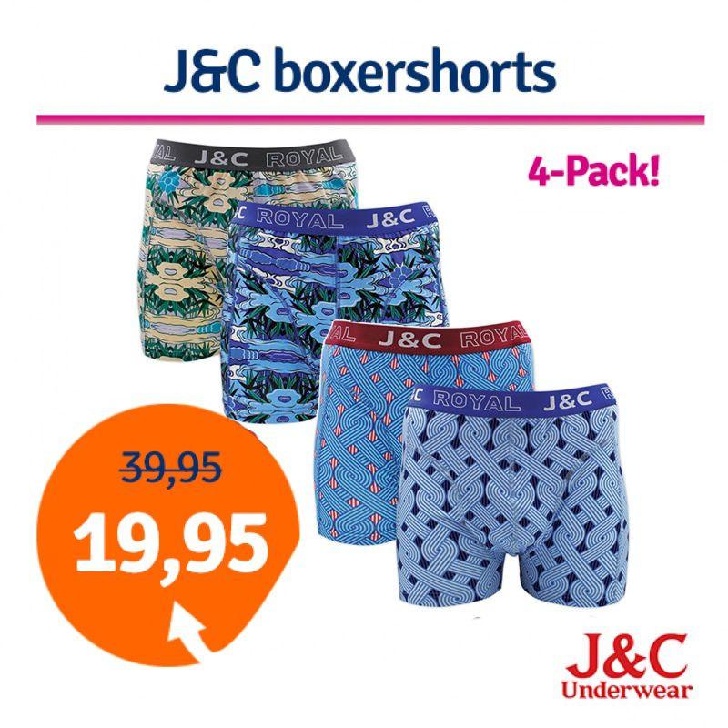 Dagaanbieding - Dagaanbieding JC boxershorts Blue combi 4-pack dagelijkse aanbiedingen