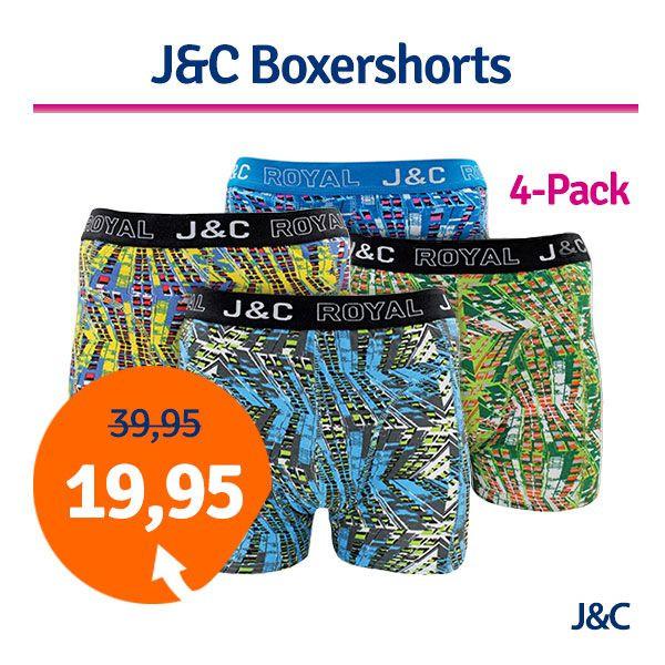 Dagaanbieding - Dagaanbieding JC boxershorts Urban 4-pack dagelijkse aanbiedingen