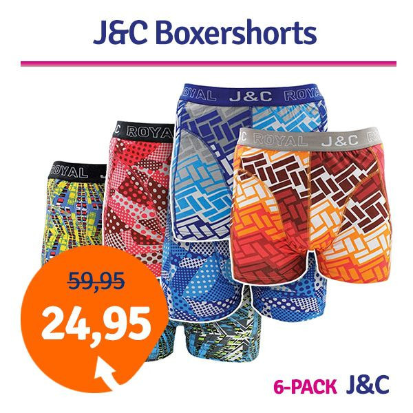 Dagaanbieding - Dagaanbieding JC boxershorts mix 6-pack dagelijkse aanbiedingen