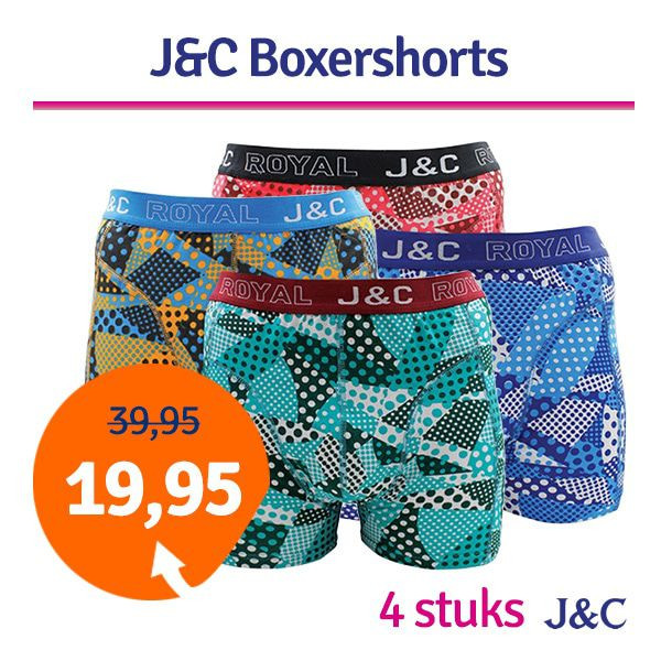 Dagaanbieding - Dagaanbieding JC boxershorts Dot combi 4-pack dagelijkse aanbiedingen
